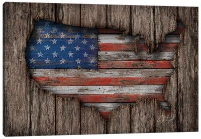 American Wood Flag Canvas Art Print