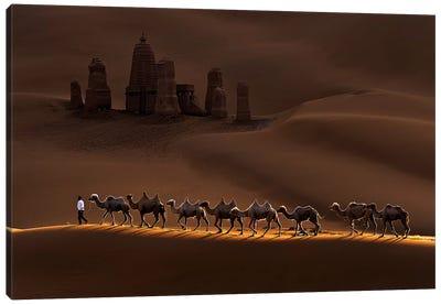 Castle And Camels Canvas Art Print
