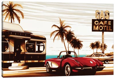 Diner By The Sea Canvas Art Print