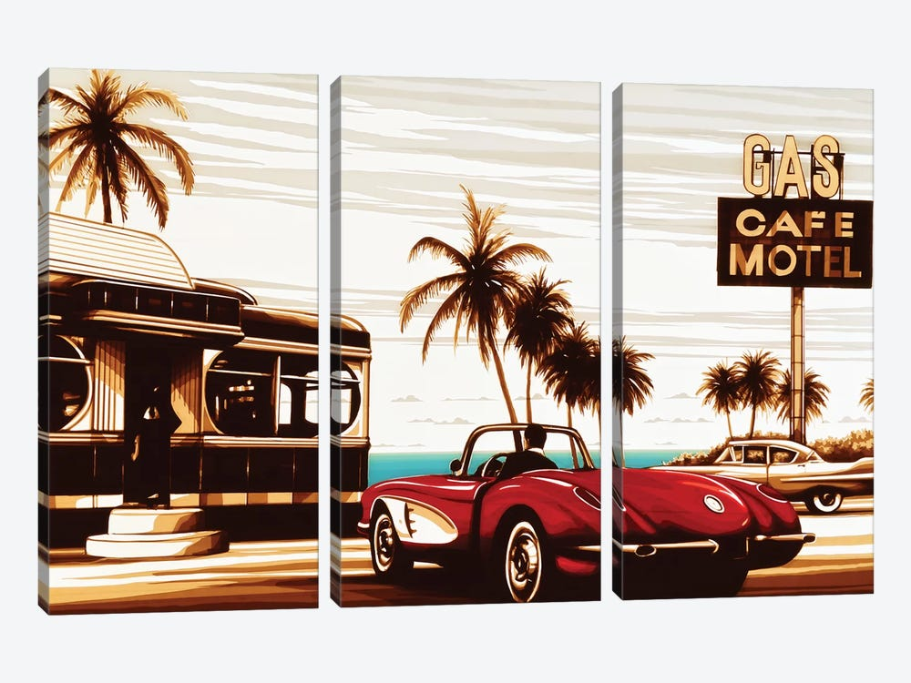 Diner By The Sea by Max Zorn 3-piece Canvas Print