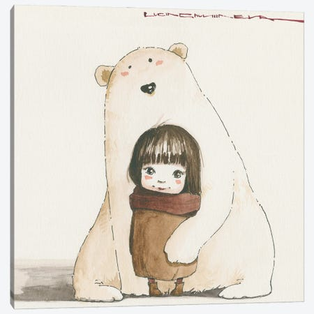 Sasha And Her Big Friend Canvas Print #MZR48} by Moozoriki Canvas Art Print