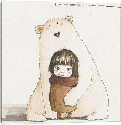 Sasha And Her Big Friend Canvas Art Print