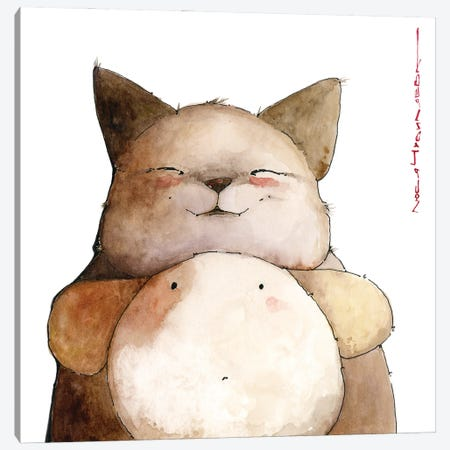 Catfox Georges And His Surprised Friend Puppilo Canvas Print #MZR54} by Moozoriki Art Print