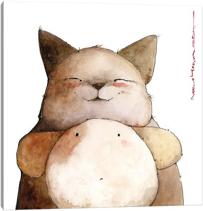 Catfox Georges And His Surprised Friend Puppilo Canvas Art Print