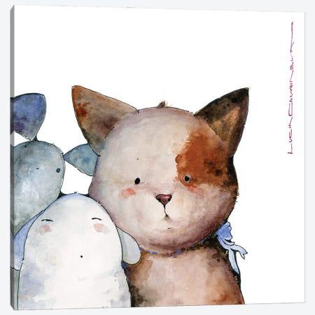 Kitty With Aliens Canvas Print #MZR59} by Moozoriki Canvas Art