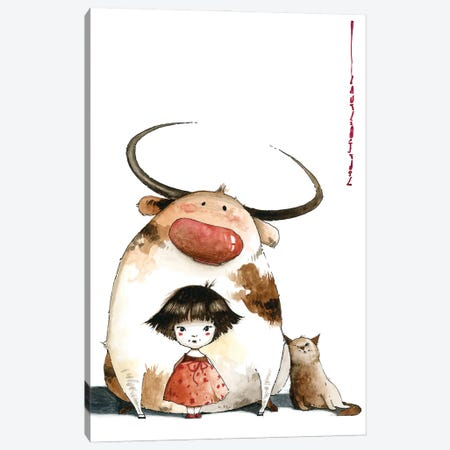 Little Girl Sasha Big Ed And Nimble Went For A Walk Away From Large Crowds Canvas Print #MZR60} by Moozoriki Canvas Print