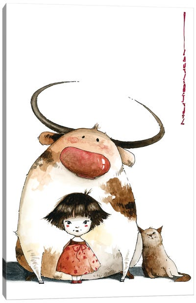 Little Girl Sasha Big Ed And Nimble Went For A Walk Away From Large Crowds Canvas Art Print
