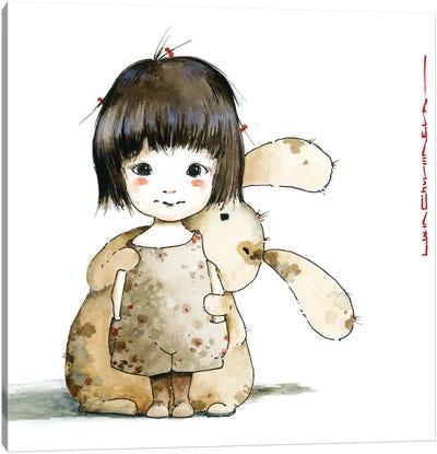 Little Girl Sasha With Egorka Canvas Art Print
