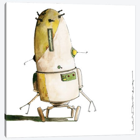 Robot Cifronius Went Shopping In Ikea Canvas Print #MZR64} by Moozoriki Canvas Artwork