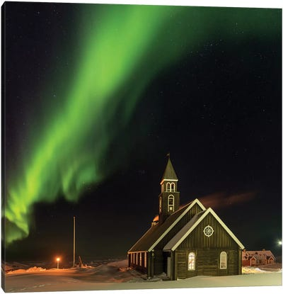 Northern Lights over the Zion's Church. Ilulissat at the shore of Disko Bay, Canvas Art Print