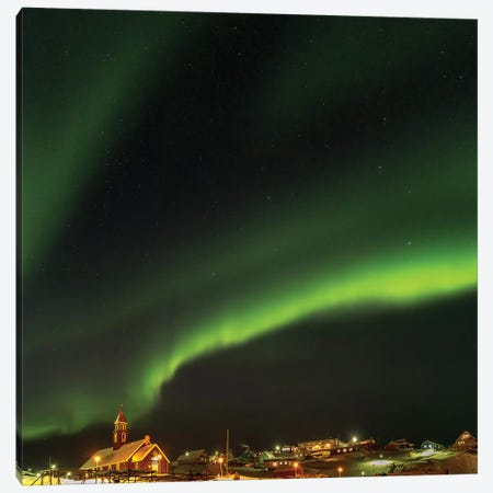 Northern Lights over town and frozen Disko Bay. Greenland. Canvas Print #MZW115} by Martin Zwick Canvas Art Print