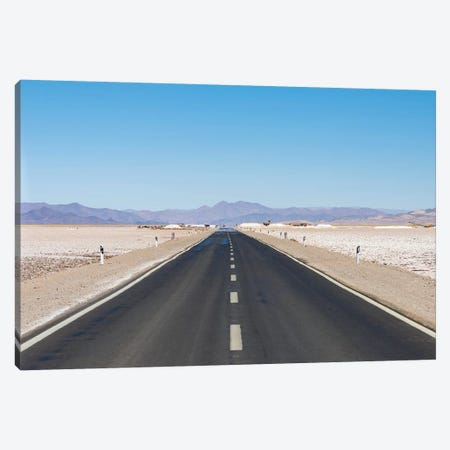 Routa 52 is crossing the Salar towards Chile. Landscape on the salt flats Salar Salinas Grandes Canvas Print #MZW118} by Martin Zwick Canvas Artwork