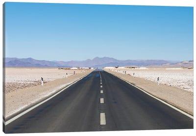 Routa 52 is crossing the Salar towards Chile. Landscape on the salt flats Salar Salinas Grandes Canvas Art Print