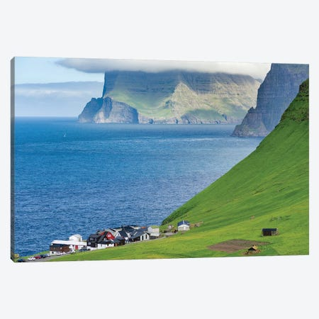 Island Kalsoy, village Trollanes, Faroe Islands, Denmark Canvas Print #MZW12} by Martin Zwick Art Print