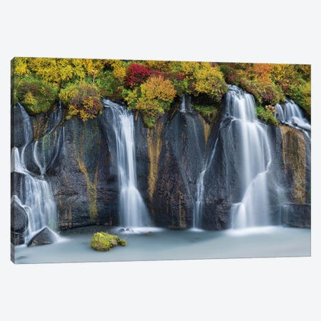 Waterfall Hraunfossar with colorful foliage during fall. Northern Iceland Canvas Print #MZW132} by Martin Zwick Canvas Wall Art