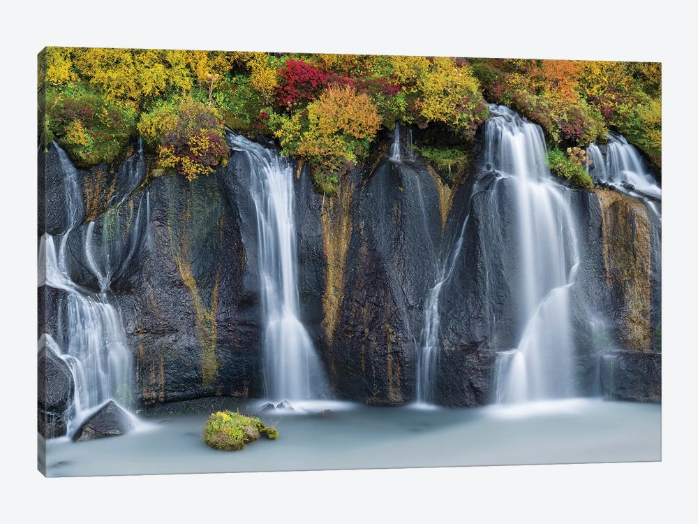 Waterfall Hraunfossar with colorful foliage during fall. Northern Iceland by Martin Zwick 1-piece Canvas Art