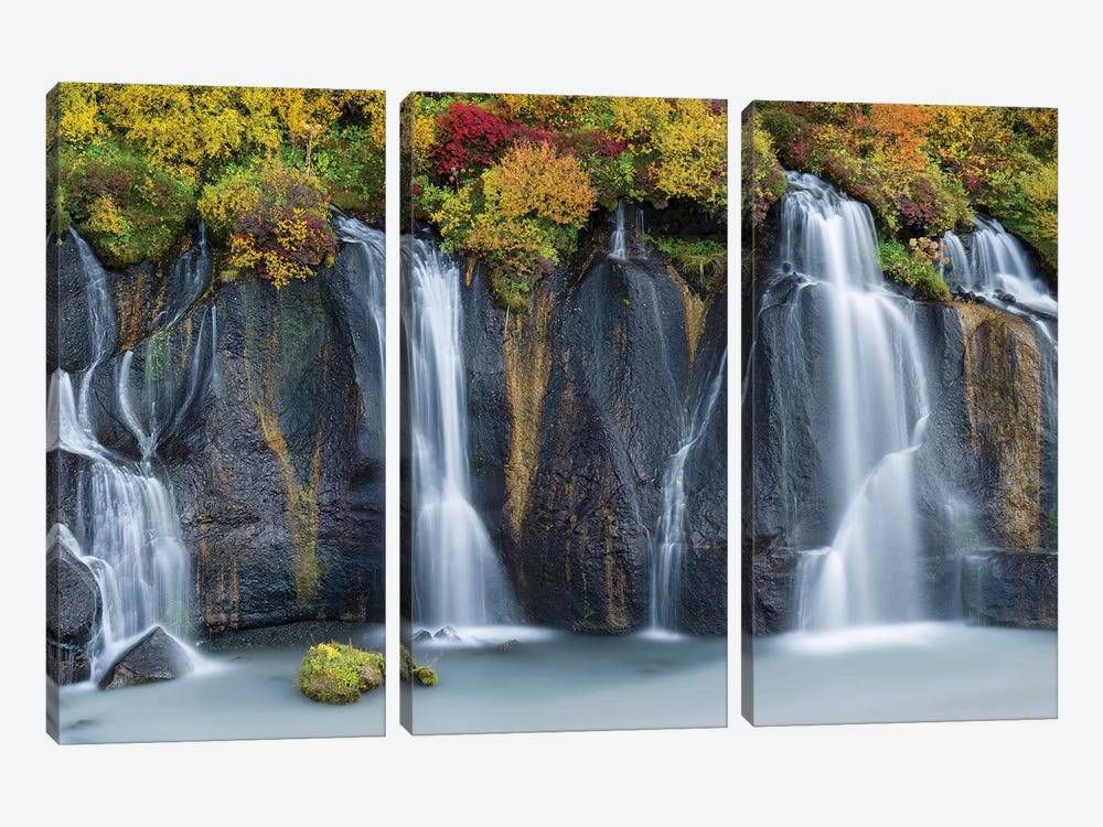 Waterfall Hraunfossar with colorful foliage during fall. Northern Iceland by Martin Zwick 3-piece Canvas Art