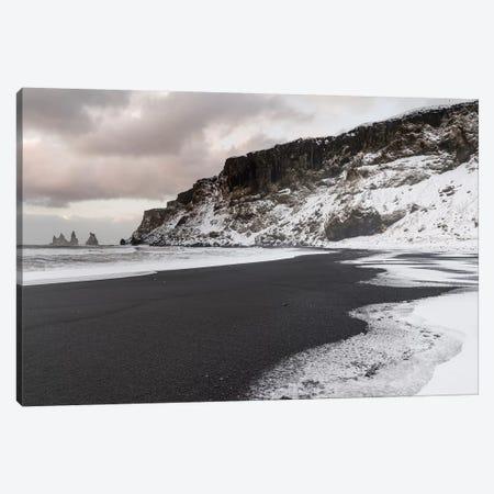 Coast Near Vik Y Myrdal During Winter. Black Volcanic Beach With The Sea Stacks Reynisdrangar, Iceland. Canvas Print #MZW162} by Martin Zwick Canvas Art Print