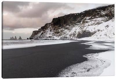 Coast Near Vik Y Myrdal During Winter. Black Volcanic Beach With The Sea Stacks Reynisdrangar, Iceland. Canvas Art Print