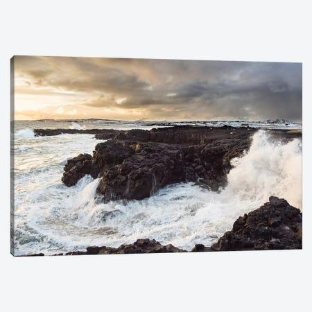 Stormy Winter Sunset, Brimketill Lava Rock Pool, North Atlantic Coast, Reykjanes Peninsula, Iceland Canvas Print #MZW165} by Martin Zwick Canvas Wall Art