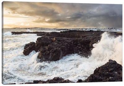 Stormy Winter Sunset, Brimketill Lava Rock Pool, North Atlantic Coast, Reykjanes Peninsula, Iceland Canvas Art Print