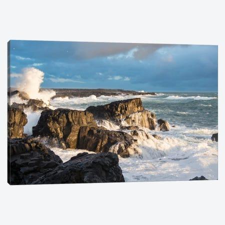 Stormy Winter Sunset II, Brimketill Lava Rock Pool, North Atlantic Coast, Reykjanes Peninsula, Iceland Canvas Print #MZW166} by Martin Zwick Canvas Art