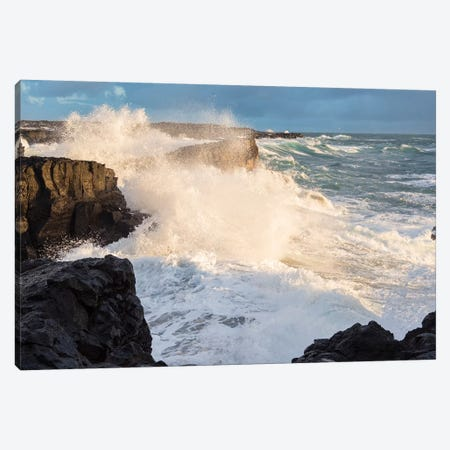Coastline At Brimketill During Winter Storm Conditions At Sunset. Reykjanes Peninsula, Iceland. 3-Piece Canvas #MZW167} by Martin Zwick Canvas Artwork