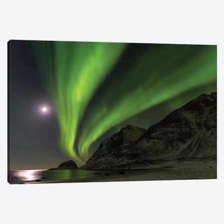 Northern Lights over Haukland Beach, island Vestvagoy. Lofoten Islands. Norway I Canvas Print #MZW16} by Martin Zwick Canvas Wall Art
