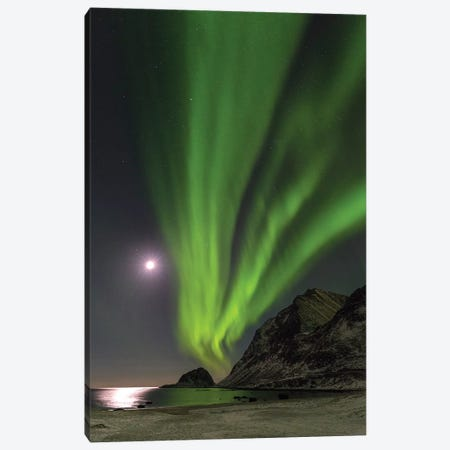 Northern Lights over Haukland Beach, island Vestvagoy. Lofoten Islands. Norway II Canvas Print #MZW17} by Martin Zwick Canvas Artwork