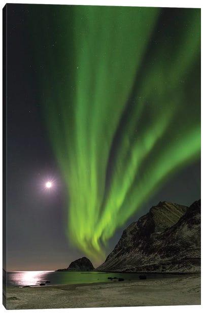 Northern Lights over Haukland Beach, island Vestvagoy. Lofoten Islands. Norway II Canvas Art Print