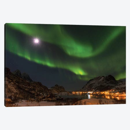 Northern Lights over village Maervoll, island Vestvagoy. Lofoten Islands. Norway Canvas Print #MZW18} by Martin Zwick Art Print