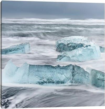 Icebergs On A Black Volcanic Beach I, Vatnajokull National Park, Iceland Canvas Art Print