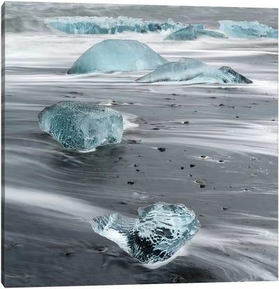 Icebergs On A Black Volcanic Beach III, Vatnajokull National Park, Iceland Canvas Art Print