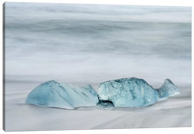 Icebergs On A Black Volcanic Beach IV, Vatnajokull National Park, Iceland Canvas Art Print