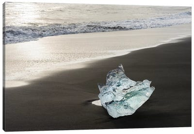 Icebergs On A Black Volcanic Beach V, Vatnajokull National Park, Iceland Canvas Art Print