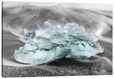 Icebergs On A Black Volcanic Beach VI, Vatnajokull National Park, Iceland Canvas Art Print
