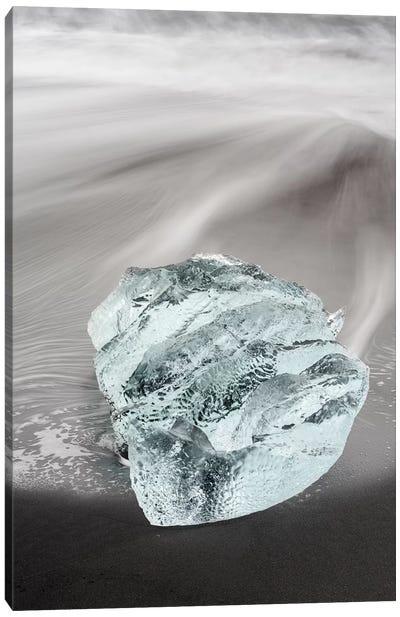 Icebergs On Black Volcanic Beach, Iceland. Canvas Art Print