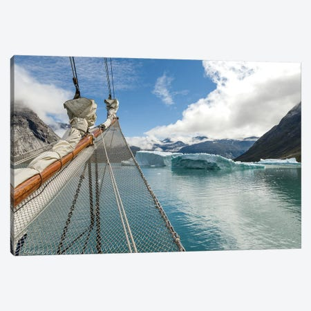 Sailing ship in the Uunartoq Fjord, Puiattukulooq Bay. Southern Greenland, Denmark Canvas Print #MZW20} by Martin Zwick Canvas Art