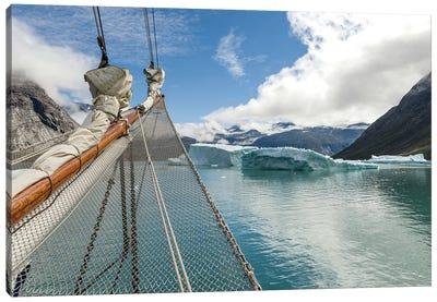 Sailing ship in the Uunartoq Fjord, Puiattukulooq Bay. Southern Greenland, Denmark Canvas Art Print