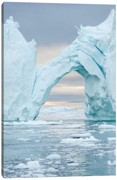 Ilulissat Icefjord At Disko Bay. The Icefjord Is Listed As Unesco World Heritage Site, Greenland. Canvas Art Print