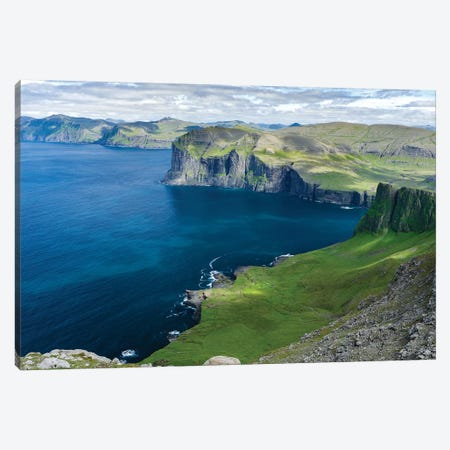 Settlement Vikar and Mountains, Island Vagar, Denmark, Faroe Islands Canvas Print #MZW21} by Martin Zwick Canvas Artwork