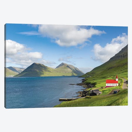 The church in village Husar on Kalsoy. Faroe Islands, Denmark Canvas Print #MZW22} by Martin Zwick Canvas Wall Art