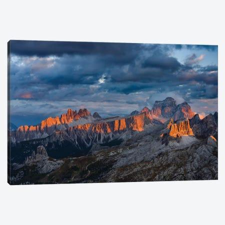 The dolomites in the Veneto. Monte Pelmo, Croda da Lago, Averau, Italy 3-Piece Canvas #MZW25} by Martin Zwick Canvas Print