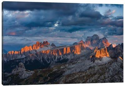 The dolomites in the Veneto. Monte Pelmo, Croda da Lago, Averau, Italy Canvas Art Print
