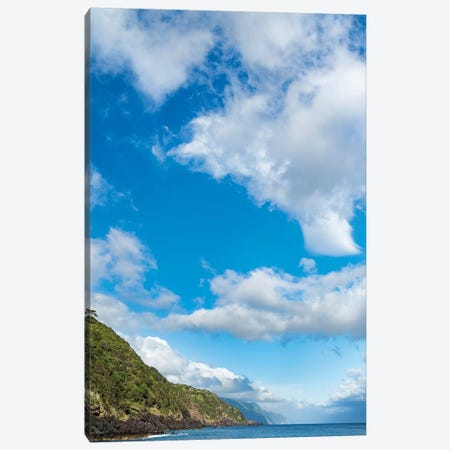 Village Of Calheta, View Along The Southern Coast. Sao Jorge Island, Azores, Portugal. Canvas Print #MZW283} by Martin Zwick Canvas Artwork
