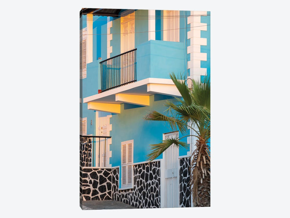 Traditional townhouse (Sobrado). Sao Filipe, the capital of the island. Fogo Island, part of Cape Verde in the central Atlantic. by Martin Zwick 1-piece Canvas Art Print