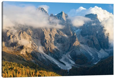 Peaks towering over Val Venegia. Pala group (Pale di San Martino) in the dolomites of Trentino, Italy. Canvas Art Print