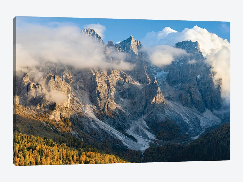Peaks towering over Val Venegia. Pala group (Pale di San Martino) in the dolomites of Trentino, Italy. by Martin Zwick 1-piece Canvas Wall Art