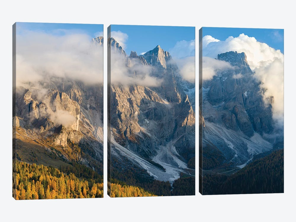 Peaks towering over Val Venegia. Pala group (Pale di San Martino) in the dolomites of Trentino, Italy. by Martin Zwick 3-piece Canvas Art