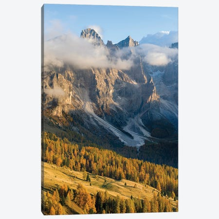 Peaks towering over Val Venegia. Pala group (Pale di San Martino) in the dolomites of Trentino, Italy Canvas Print #MZW291} by Martin Zwick Canvas Print